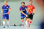 Mannheim, Germany, January 18: During the 1. Bundesliga Herren Hallensaison 2014/15 Sued hockey match between Mannheimer HC (blue) and TSV Mannheim (red) on January 18, 2015 at Irma-Roechling-Halle in Mannheim, Germany. Final score 4-6 (4-4). (Photo by Dirk Markgraf / www.265-images.com) *** Local caption *** Philipp Collot #13 of Mannheimer HC