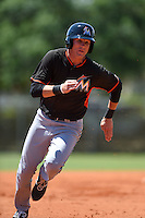 Miami Marlins Casey Soltis (11) during a minor league spring training game against the St. Louis Cardinals on March 31, 2015 at the Roger Dean Complex in Jupiter, Florida.  (Mike Janes/Four Seam Images)