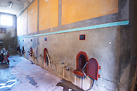 Chateau Mire l'Etang. La Clape. Languedoc. Concrete fermentation and storage vats. France. Europe.
