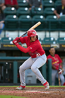 Palm Beach Cardinals Luis Rodriguez (41) bats during a game against the Bradenton Marauders on May 29, 2021 at LECOM Park in Bradenton, Florida.  (Mike Janes/Four Seam Images)