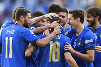 Nicolo Barella of Italy celebrates with team mates after scoring the goal of 1-0 during the Uefa Nations League 3rd and 4th place final football match between Italy and Belgium at Juventus stadium in Torino (Italy), October 10th, 2021. Photo Image Sport / Insidefoto