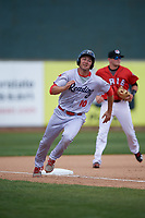Reading Fightin Phils third baseman Mitch Walding (10) rounds third base during a game against the Erie SeaWolves on May 18, 2017 at UPMC Park in Erie, Pennsylvania.  Reading defeated Erie 8-3.  (Mike Janes/Four Seam Images)