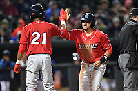 Catcher Edgar Cabral (30) of the Lakewood BlueClaws is congratulated after scoring the only run in a game against the Columbia Fireflies on Saturday, May 6, 2017, at Spirit Communications Park in Columbia, South Carolina. Lakewood won, 1-0 with a no-hitter. (Tom Priddy/Four Seam Images)