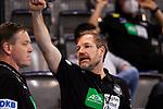 Mattias Andersson (Trainer Deutschland) / li: Alfred Gislason (Trainer Handball Nationalmannschaft Deutschland) ; gestreckte Faust / EHF EURO-Qualifikation / EM-Qualifikation / Handball-Laenderspiel: Deutschland - Estland am 02.05.2021 in Stuttgart (PORSCHE Arena), Baden-Wuerttemberg, Deutschland, Photo: Sandy Dinkelacker 2021<br /> <br /> Foto © PIX-Sportfotos *** Foto ist honorarpflichtig! *** Auf Anfrage in hoeherer Qualitaet/Aufloesung. Belegexemplar erbeten. Veroeffentlichung ausschliesslich fuer journalistisch-publizistische Zwecke. For editorial use only.