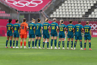 KASHIMA, JAPAN - JULY 27: Australia stands on the field before a game between Australia and USWNT at Ibaraki Kashima Stadium on July 27, 2021 in Kashima, Japan.
