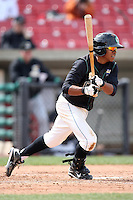 Gerald Hall, Jr. (1) of the Kane County Cougars during a game against the Clinton LumberKings at Elfstrom Stadium on April 23, 2011 in Geneva, Illinois. Photo by Chris Proctor/Four Seam Images