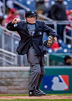 15 April 2018: MLB Umpire Jerry Meals works home plate during a game between the Washington Nationals and the Colorado Rockies at Nationals Park in Washington, DC. All MLB players and umpires wore Number 42 to commemorate the life of Jackie Robinson and to celebrate Black Heritage Day in pro baseball. The Rockies edged out the Nationals 6-5 to take the final game of their 4-game series. Mandatory Credit: Ed Wolfstein Photo *** RAW (NEF) Image File Available ***