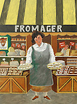 """""""The Cheese Vendor""""<br /> Limited Edition Lithograph Paper 15x12<br /> SN $300"""