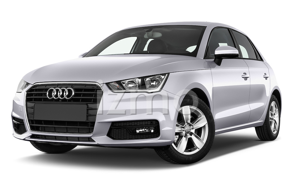 Stock pictures of low aggressive front three quarter view of 2015 Audi A1 Sportback 5 Door Hatchback Low Aggressive
