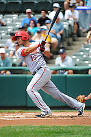 Harrisburg Senators infielder Carlos Rivero (12) during game against the Trenton Thunder at ARM & HAMMER Park on July 31, 2013 in Trenton, NJ.  Harrisburg defeated Trenton 5-3.  (Tomasso DeRosa/Four Seam Images)