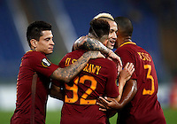 Calcio, Europa League, Gguppo E: Roma vs Austria Vienna. Roma, stadio Olimpico, 20 ottobre 2016.<br /> Roma's Stephan El Shaarawy, second from left, celebrates with teammates, from left, Juan Manuel Iturbe, Radja Nainggolan and Juan Jesus, after scoring during the Europa League Group E soccer match between Roma and Austria Wien, at Rome's Olympic stadium, 20 October 2016. The game ended 3-3.<br /> UPDATE IMAGES PRESS/Isabella Bonotto