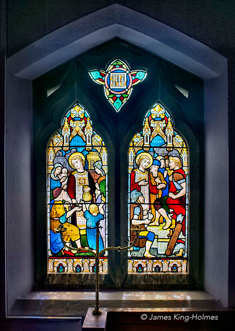 Stained glass window on the south wall of the choir of St Lawrence Church, Tubney, Oxfordshire, UK. This is the only Protestant church designed by Augustus Pugin. The interior fittings and windows were designed by him and remain unchanged since its consecration in 1847.