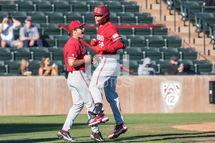 STANFORD, CA - JUNE 6: Grant Burton and Nick Brueser during a game between UC Irvine and Stanford Baseball at Sunken Diamond on June 6, 2021 in Stanford, California.