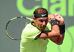 March 28 2017: Rafael Nadal (ESP) defeats Nicolas Mahut (FRA) by 6-4, 7-6, at the Miami Open being played at Crandon Park Tennis Center in Miami, Key Biscayne, Florida. ©Karla Kinne/Tennisclix/Cal Sports Media
