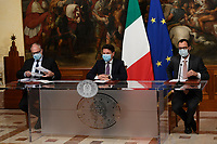 The Minister of Economy Roberto Gualtieri, the Italian Premier Giuseppe Conte and the Minister of Economic Development Stefano Patuanelli wearing a face mask during the press conference after the Minister's cabinet.<br /> Rome (Italy), October 28th 2020<br /> Photo Pool Augusto Casasoli Insidefoto