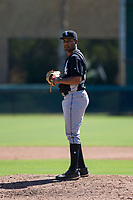 Chicago White Sox pitcher Bryan Saucedo (55) prepares to deliver a pitch to the plate during an Instructional League game against the Los Angeles Dodgers on September 30, 2017 at Camelback Ranch in Glendale, Arizona. (Zachary Lucy/Four Seam Images)