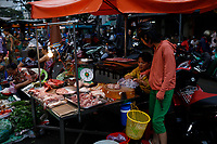 meat in outdoor market, <br /> Ho Chi Minh City, Vietnam<br /> <br /> <br /> PHOTO : Agence Quebec presse
