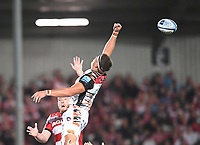 24th September 2021;  Kingsholm Stadium, Gloucester, England; Gallaher Premiership Rugby, Gloucester Rugby versus Leicester Tigers: Eli Snyman of Leicester Tigers ,isses the lineout throw