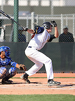 Cory Scammell #15 of the Langley Blaze, a British Columbia Premier League team, plays against against an all-star team from the Dominican Prospect League in an exhibition game at Surprise Recreational Complex, the Texas Rangers minor league complex, on March 22, 2011 in Surprise, Arizona..Photo by:  Bill Mitchell/Four Seam Images