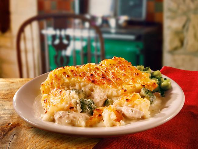 British Food - Cjicken & Broccoli Potato Pie