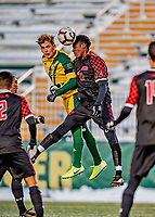 13 November 2019: University of Vermont Catamount Defender Ívar Örn Árnason, a Senior from Akureyri, Iceland, goes up against the University of Hartford Hawk Midfielder Jordan Koduah, a Redshirt Sophomore from Windsor, CT, at Virtue Field in Burlington, Vermont. The Catamounts fell to the visiting Hawks 3-2 in sudden death overtime of the Division 1 Men's Soccer America East matchup. Mandatory Credit: Ed Wolfstein Photo *** RAW (NEF) Image File Available ***