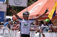 MEDELLÍN -COLOMBIA-21-06-2013. Jonathan Millán, del equipo GW Shimano ganó la décima tercera etapa de la Vuelta a Colombia Supérate 2103 que se cumplió entre Medellín y el alto de Santa Helena con un recorrido de 133 Km./ Jonathan Millan of GW Shimano team won the 13th stage of Vuelta a Colombia Superate 2013 made between Medellin and St Helena High with a distance of 133 Km.  Photo: VizzorImage/Luis Ríos/STR
