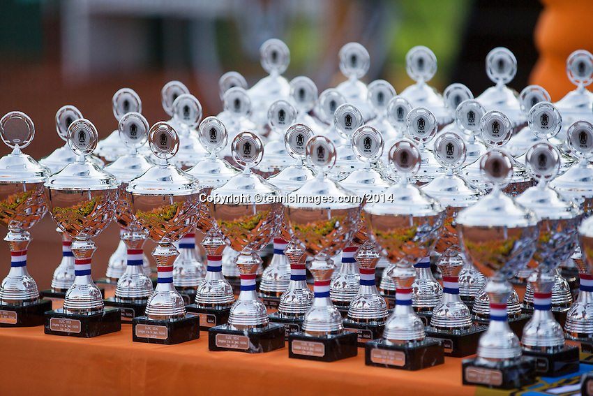 August 9, 2014, Netherlands, Rotterdam, TV Victoria, Tennis, National Junior Championships, NJK,  Prize giving, all the trophy's<br /> Photo: Tennisimages/Henk Koster