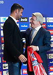 Atletico de Madrid's new player Diego Costa (l) with the President Enrique Cerezo during his official presentation. December 31, 2016. (ALTERPHOTOS/Acero)
