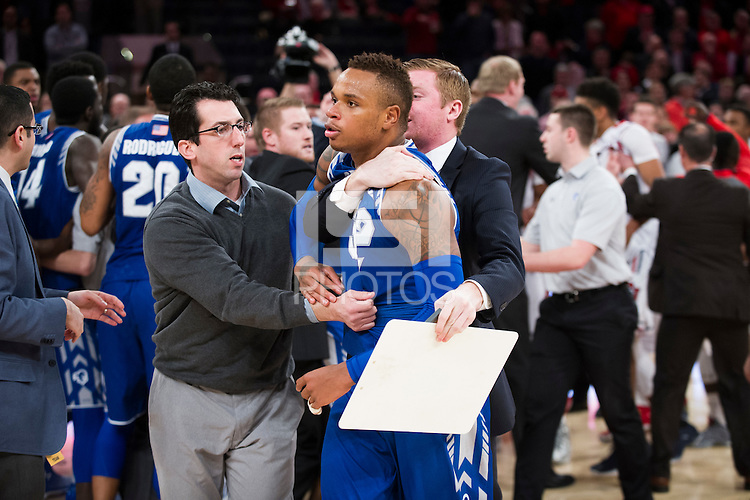 NEW YORK, NY - Sunday December 21, 2015: Benches cleared immediately after the final whistle as Seton Hall defeated St. John's in a close one, 62-61 in regular season play at Madison Square Garden.