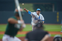 North Carolina Tar Heels starting pitcher Luca Dalatri (42) delivers a pitch to the plate against the Miami Hurricanes in the second semifinal of the 2017 ACC Baseball Championship at Louisville Slugger Field on May 27, 2017 in Louisville, Kentucky. The Tar Heels defeated the Hurricanes 12-4. (Brian Westerholt/Four Seam Images)
