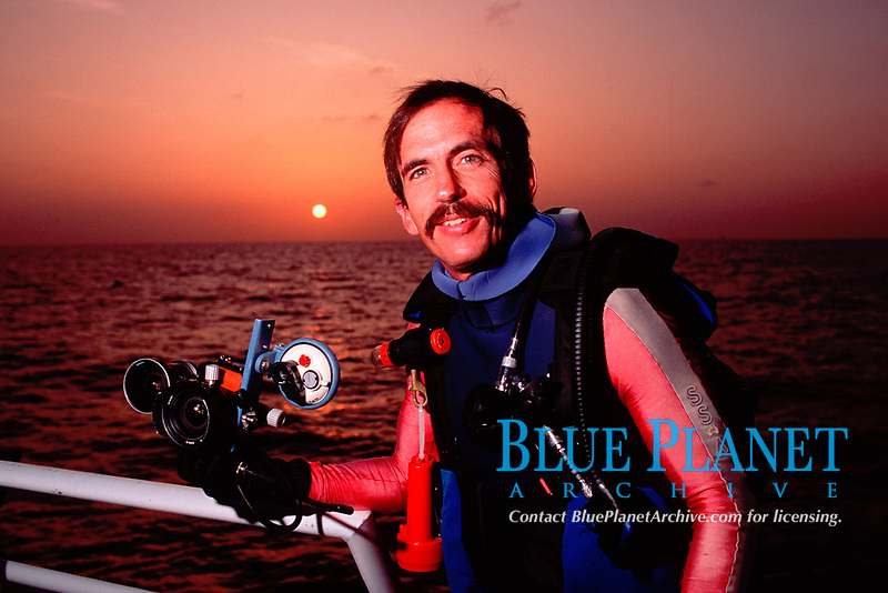Doug Perrine, preparing for a night dive in the Gulf of Mexico, photo by Franklin Viola