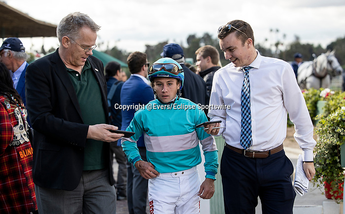 MAR 07: Drayden Van Dyke is interviewed after winning the San Felipe Stakes at Santa Anita Park in Arcadia, California on March 7, 2020. Evers/Eclipse Sportswire/CSM
