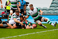 28th March 2021; Mattoli Woods Welford Road Stadium, Leicester, Midlands, England; Premiership Rugby, Leicester Tigers versus Newcastle Falcons; Jasper Wiese of Leicester Tigers is brought down short of the goal line