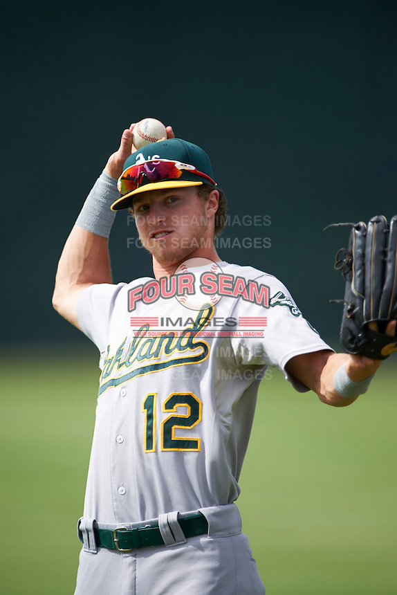 Oakland Athletics Skye Bolt (12) during an instructional league game against the San Francisco Giants on October 12, 2015 at the Giants Baseball Complex in Scottsdale, Arizona.  (Mike Janes/Four Seam Images)