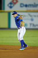 Burlington Royals second baseman Jose Marquez (4) makes a throw to first base against the Kingsport Mets at Burlington Athletic Stadium on July 27, 2018 in Burlington, North Carolina. The Mets defeated the Royals 8-0.  (Brian Westerholt/Four Seam Images)