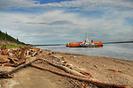 NTCL barge on Mackenzie River near Tulita