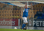 Dave Mackay Testimonial: St Johnstone v Dundee…06.10.17…  McDiarmid Park… <br />Roddy Grant celebrates his goal<br />Picture by Graeme Hart. <br />Copyright Perthshire Picture Agency<br />Tel: 01738 623350  Mobile: 07990 594431