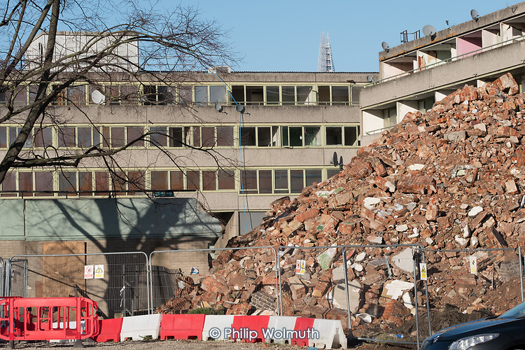 Demolition of blocks on Aylesbury Estate, part of a regeneration scheme managed by Notting Hill Housing Trust and the London Borough of Southwark.