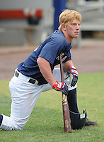 July 17, 2009: Catcher Brian Peacock (13) of the Potomac Nationals, Carolina League affiliate of the Washington Nationals, in a game against the Kinston Indians at G. Richard Pfitzner Stadium in Woodbridge, Va. Photo by: Tom Priddy/Four Seam Images