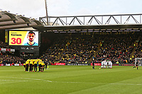 Watford and Swansea players huddle prior to the Premier League match between Watford and Swansea City at the Vicarage Road, Watford, England, UK. Saturday 30 December 2017