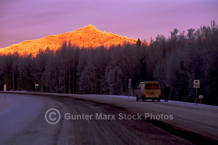 Alaska Highway, Northern Rockies, BC, British Columbia, Canada - near Liard River Hot Springs Provincial Park, Sunrise