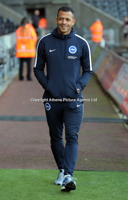 Liam Rosenior of Brighton arrives prior to the game during the Premier League match between Swansea City and Brighton and Hove Albion at The Liberty Stadium, Swansea, Wales, UK. Saturday 04 November 2017