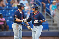 Bowing Green Hot Rods Brett Sullivan (left) congratulates David Olmedo-Barrera (23) after hitting a home run during a game against the Quad Cities River Bandits on July 24, 2016 at Modern Woodmen Park in Davenport, Iowa.  Quad Cities defeated Bowling Green 6-5.  (Mike Janes/Four Seam Images)