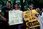 Gay Pride Parade mother with banner supporting her son. Manhattan  New York USA 1981