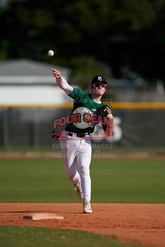 Shortstop Brek Baranoski (2) throws to first base during the Perfect Game National Underclass East Showcase on January 23, 2021 at Baseball City in St. Petersburg, Florida.  (Mike Janes/Four Seam Images)