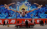 Huge billboards by Nike feature Chinese Olympic athletes on Wangfujing, Beijing's main shopping street..