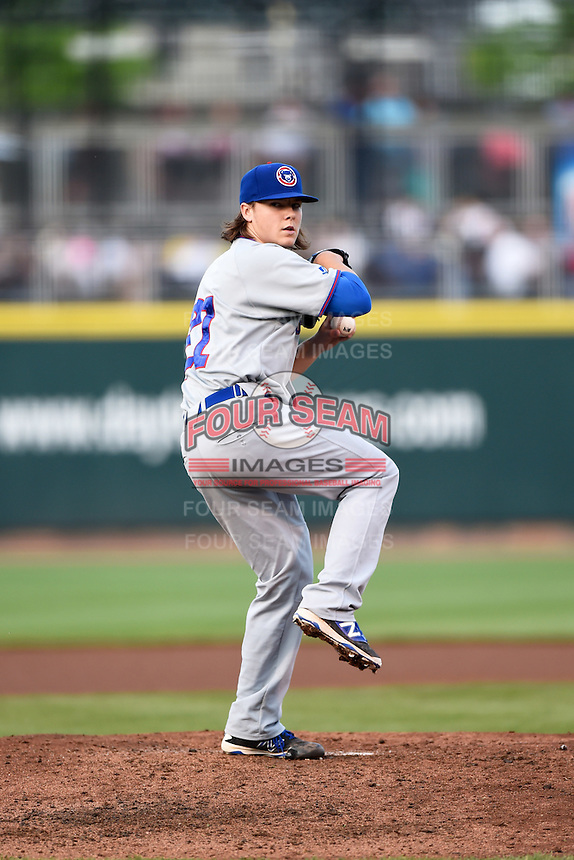 South Bend Cubs starting pitcher Justin Steele (21) during a game against the Dayton Dragons on May 11, 2016 at Fifth Third Field in Dayton, Ohio.  South Bend defeated Dayton 2-0.  (Mike Janes/Four Seam Images)