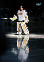 22 November 2011: University of Vermont Catamount goaltender Rob Madore, a Senior from Pittsburgh, PA, is introduced prior to play against the University of Massachusetts Minutemen at Gutterson Fieldhouse in Burlington, Vermont. The Catamounts defeated the Minutemen 2-1 in their annual pre-Thanksgiving meeting in the Hockey East season. Mandatory Credit: Ed Wolfstein Photo