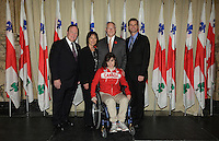 October 29 2012 - Montreal, Quebec, CANADA - Gerald Tremblay, Mayor of Montreal receive at City Hall  local athletes who took part in London 2012  Olympics and Paralympics games. IN PHOTO : Valerie Drapeau