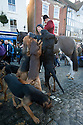 26/12/16<br /> <br /> Paddy Wright allows the bloodhounds, from the Four Shires Hunt, to smell his scent before running eight miles cross-country as the human quarry for the hunt to chase on the annual Boxing Day Hunt in Ashbourne, in the Derbyshire Peak District. <br /> <br /> All Rights Reserved F Stop Press Ltd. (0)1773 550665   www.fstoppress.com
